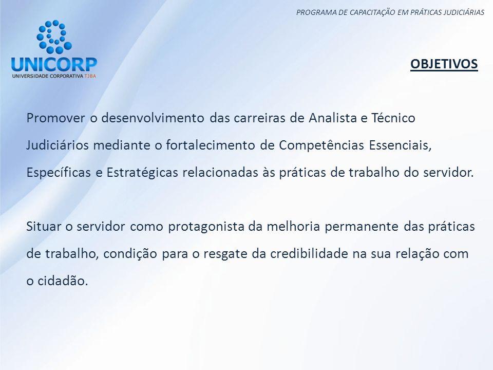 PROGRAMA DE CAPACITAÇÃO EM PRÁTICAS JUDICIÁRIAS OBJETIVOS Promover o desenvolvimento das carreiras de Analista e Técnico Judiciários mediante o fortal