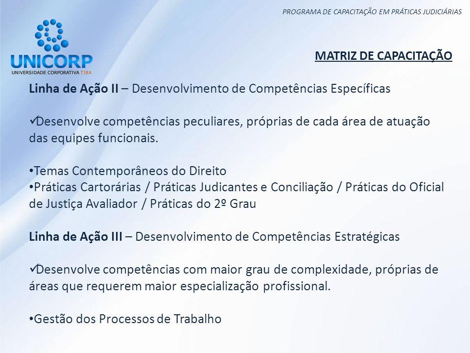 PROGRAMA DE CAPACITAÇÃO EM PRÁTICAS JUDICIÁRIAS MATRIZ DE CAPACITAÇÃO Linha de Ação II – Desenvolvimento de Competências Específicas Desenvolve competências peculiares, próprias de cada área de atuação das equipes funcionais.