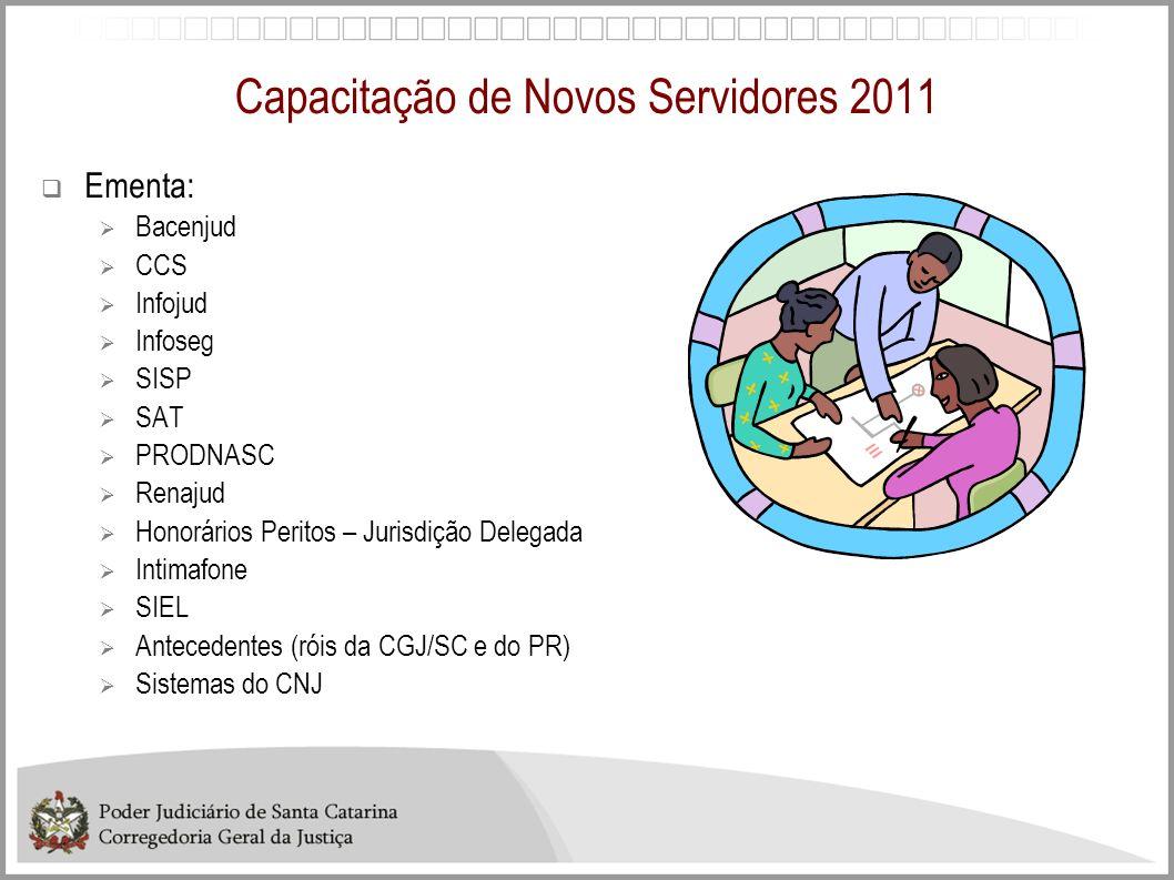 Capacitação de Novos Servidores 2011 Ementa: Bacenjud CCS Infojud Infoseg SISP SAT PRODNASC Renajud Honorários Peritos – Jurisdição Delegada Intimafon