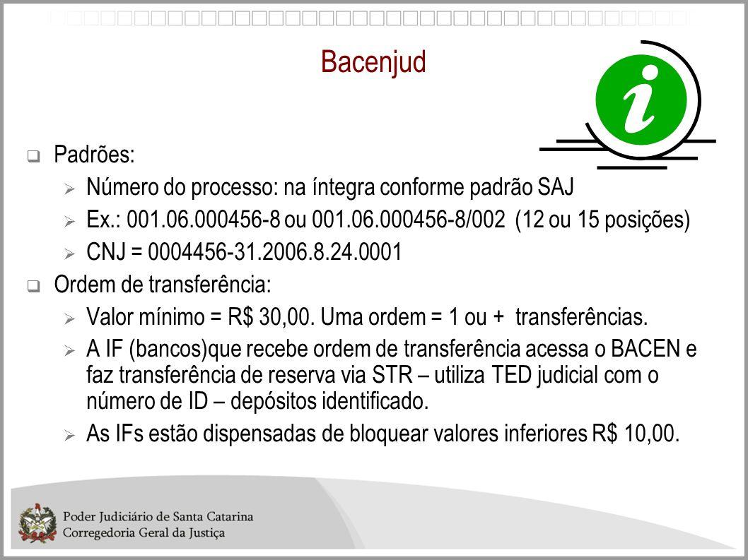 Bacenjud Padrões: Número do processo: na íntegra conforme padrão SAJ Ex.: 001.06.000456-8 ou 001.06.000456-8/002 (12 ou 15 posições) CNJ = 0004456-31.