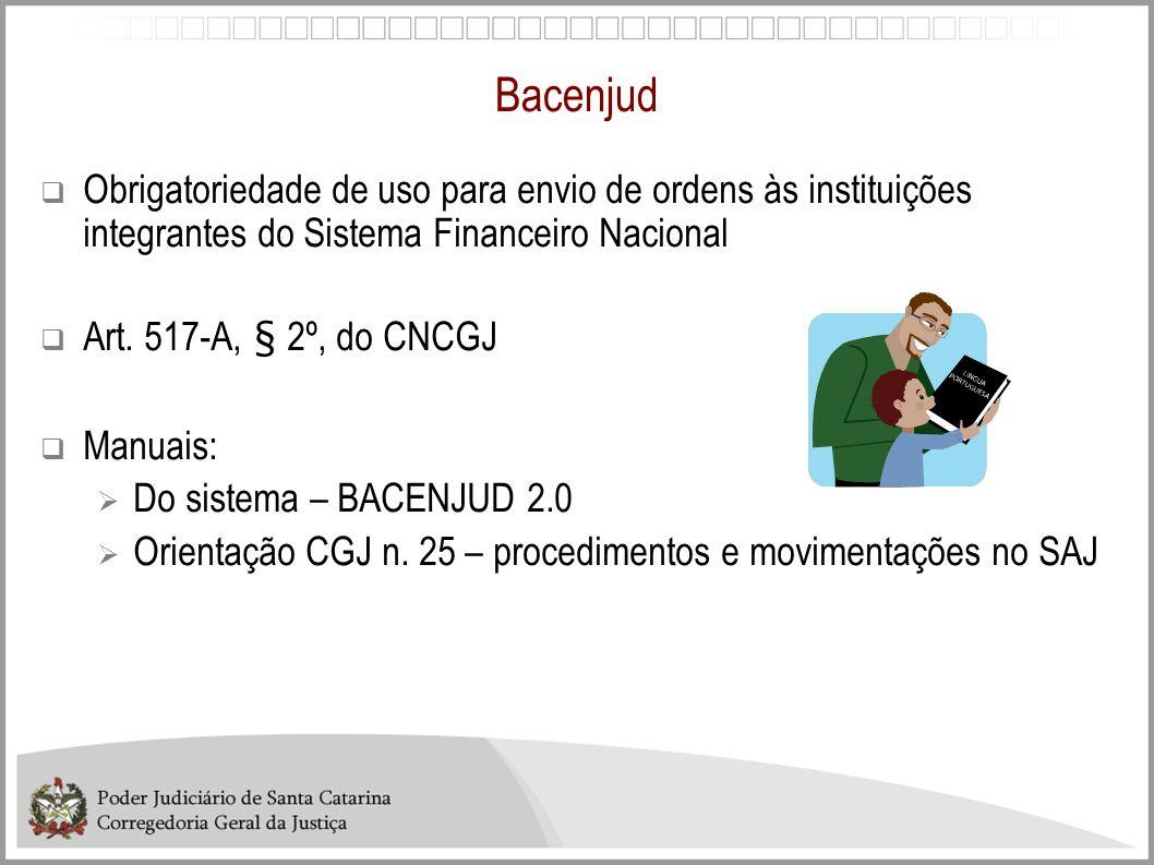 Bacenjud Criado Sistema de consulta transferências BACENJUD no site da CGJ.