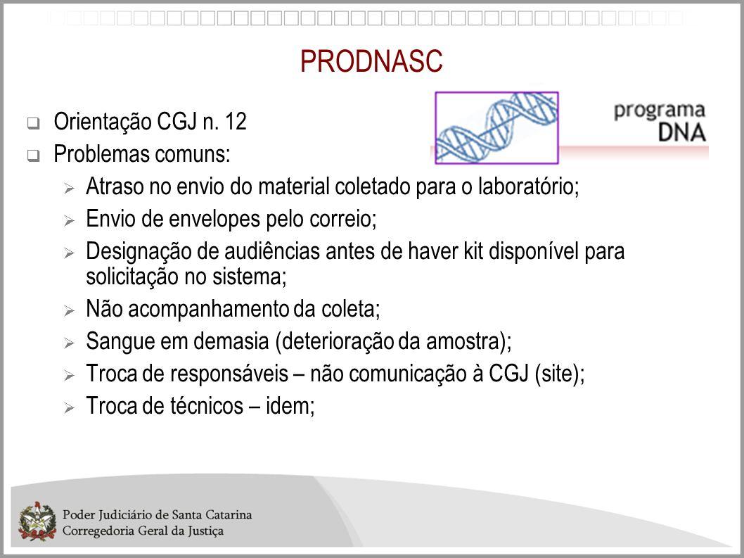 PRODNASC Orientação CGJ n. 12 Problemas comuns: Atraso no envio do material coletado para o laboratório; Envio de envelopes pelo correio; Designação d