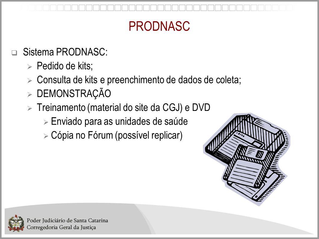 PRODNASC Sistema PRODNASC: Pedido de kits; Consulta de kits e preenchimento de dados de coleta; DEMONSTRAÇÃO Treinamento (material do site da CGJ) e D