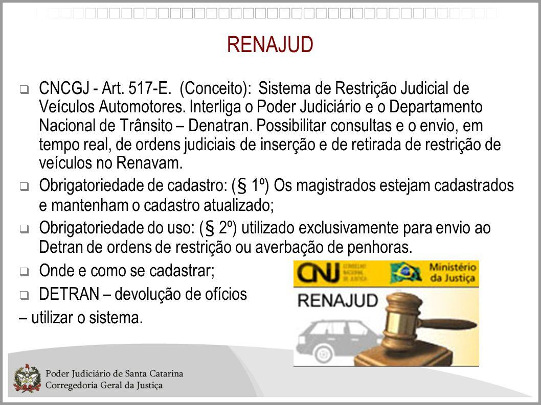RENAJUD CNCGJ - Art. 517-E. (Conceito): Sistema de Restrição Judicial de Veículos Automotores. Interliga o Poder Judiciário e o Departamento Nacional