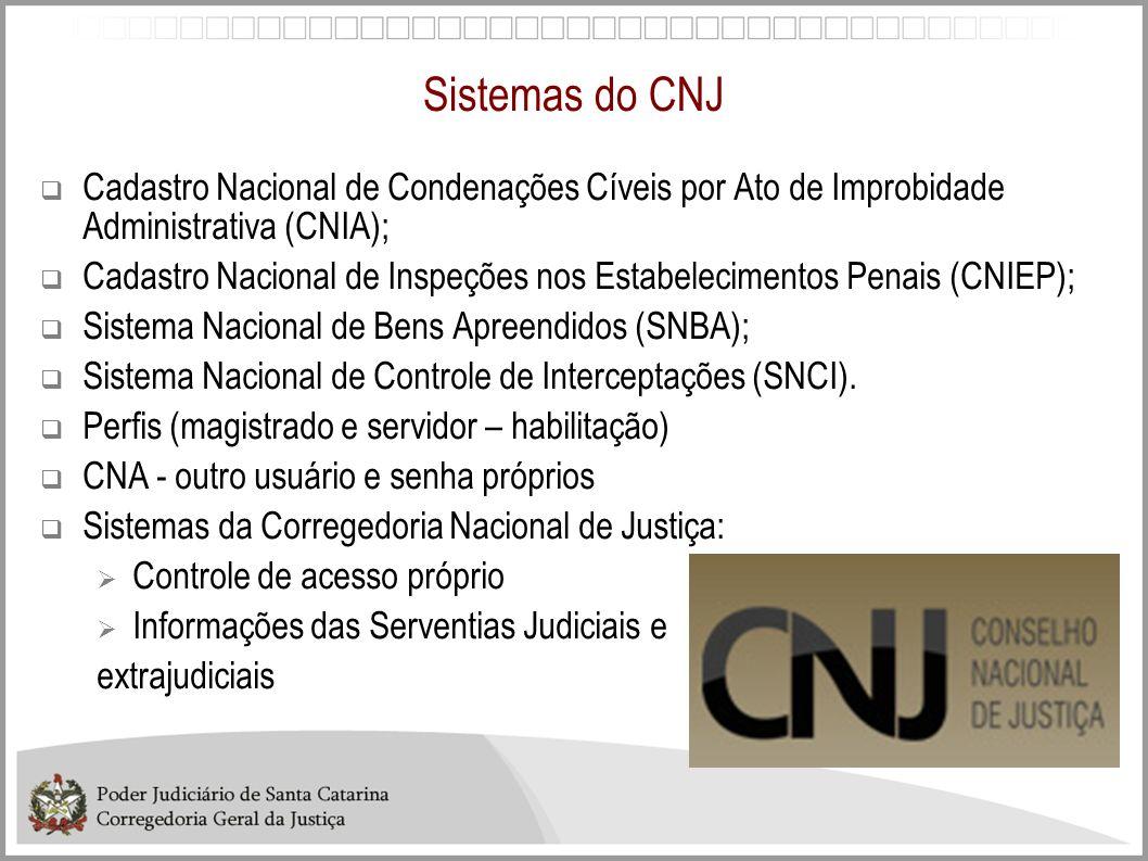 Sistemas do CNJ Cadastro Nacional de Condenações Cíveis por Ato de Improbidade Administrativa (CNIA); Cadastro Nacional de Inspeções nos Estabelecimen