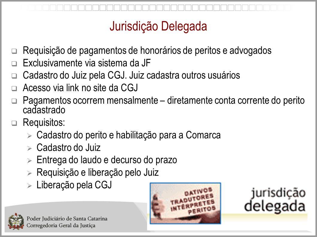 Jurisdição Delegada Requisição de pagamentos de honorários de peritos e advogados Exclusivamente via sistema da JF Cadastro do Juiz pela CGJ. Juiz cad