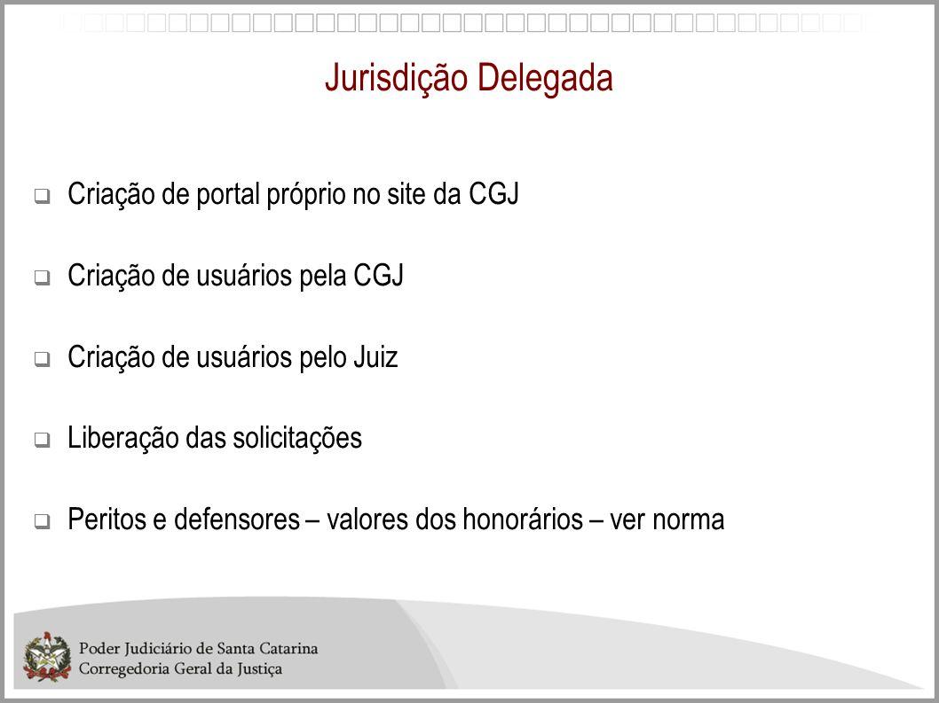 Jurisdição Delegada Criação de portal próprio no site da CGJ Criação de usuários pela CGJ Criação de usuários pelo Juiz Liberação das solicitações Per