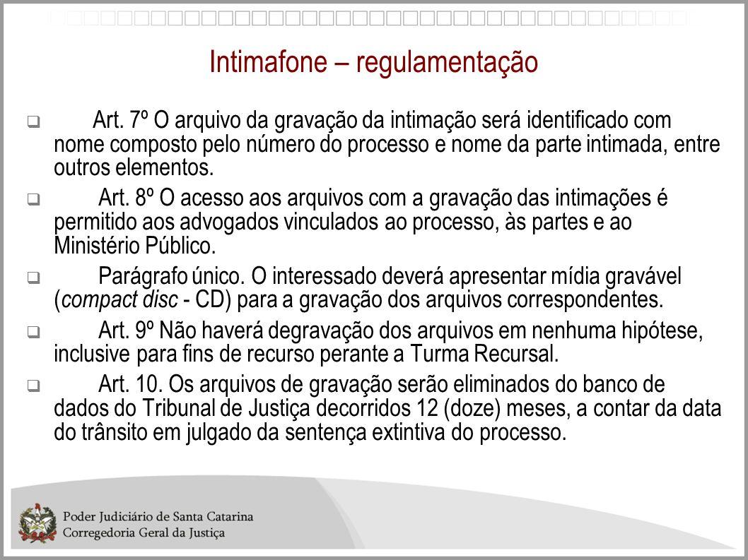 Intimafone – regulamentação Art. 7º O arquivo da gravação da intimação será identificado com nome composto pelo número do processo e nome da parte int