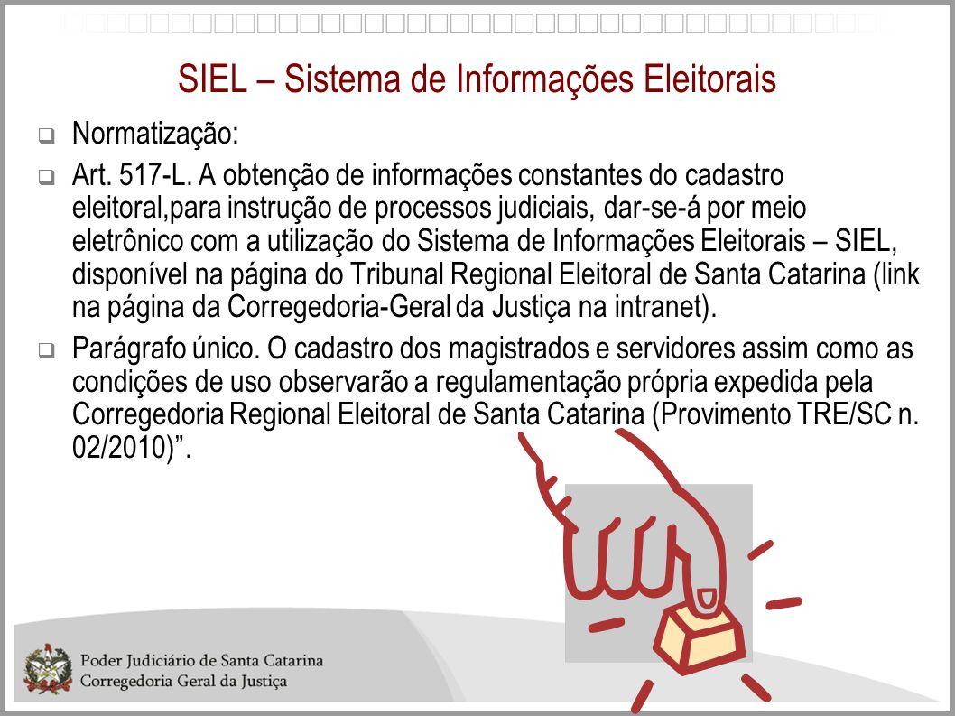 SIEL – Sistema de Informações Eleitorais Normatização: Art. 517-L. A obtenção de informações constantes do cadastro eleitoral,para instrução de proces