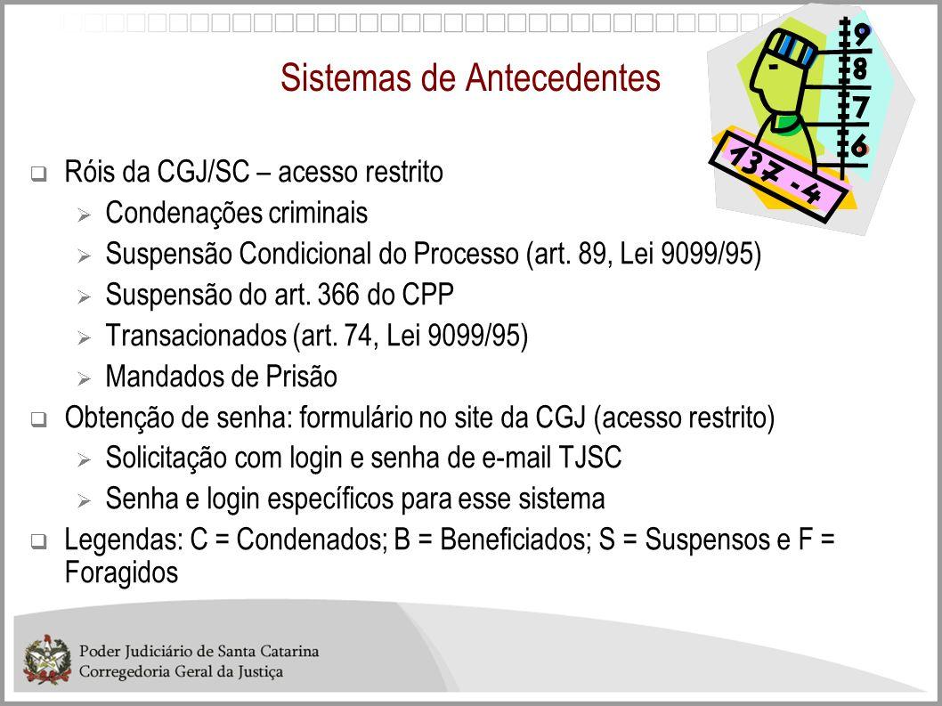 Sistemas de Antecedentes Róis da CGJ/SC – acesso restrito Condenações criminais Suspensão Condicional do Processo (art. 89, Lei 9099/95) Suspensão do