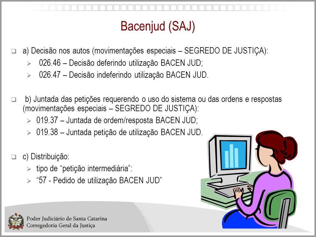 Bacenjud (SAJ) a) Decisão nos autos (movimentações especiais – SEGREDO DE JUSTIÇA): 026.46 – Decisão deferindo utilização BACEN JUD; 026.47 – Decisão