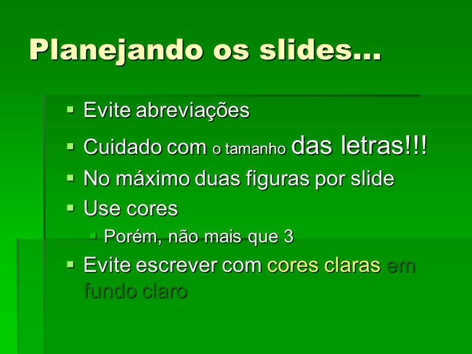 Planejando os slides... Evite abreviações Evite abreviações Cuidado com o tamanho das letras!!.