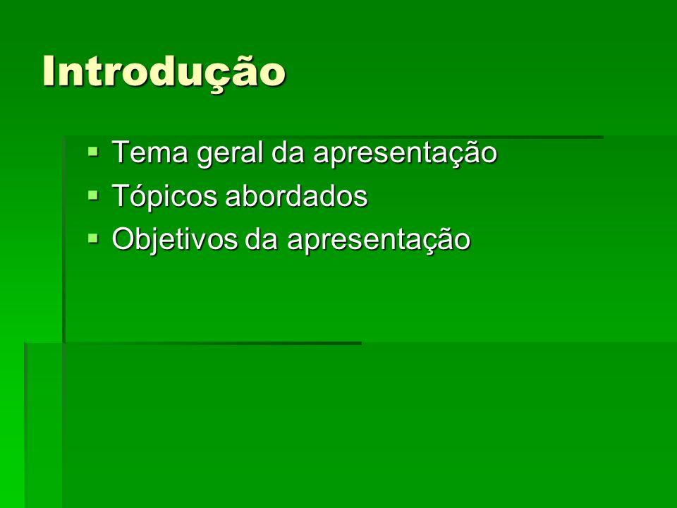 Introdução Tema geral da apresentação Tema geral da apresentação Tópicos abordados Tópicos abordados Objetivos da apresentação Objetivos da apresentação