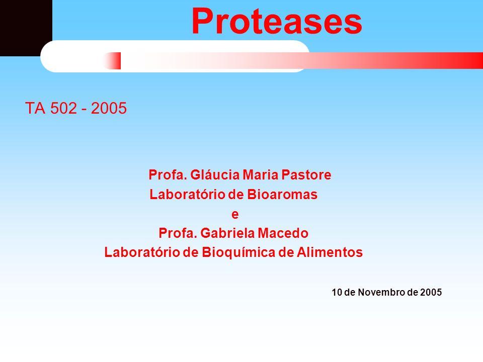 Proteases: Definição Defini ç ão: Proteases catalisam a quebra das liga ç ões pept í dicas em prote í nas.
