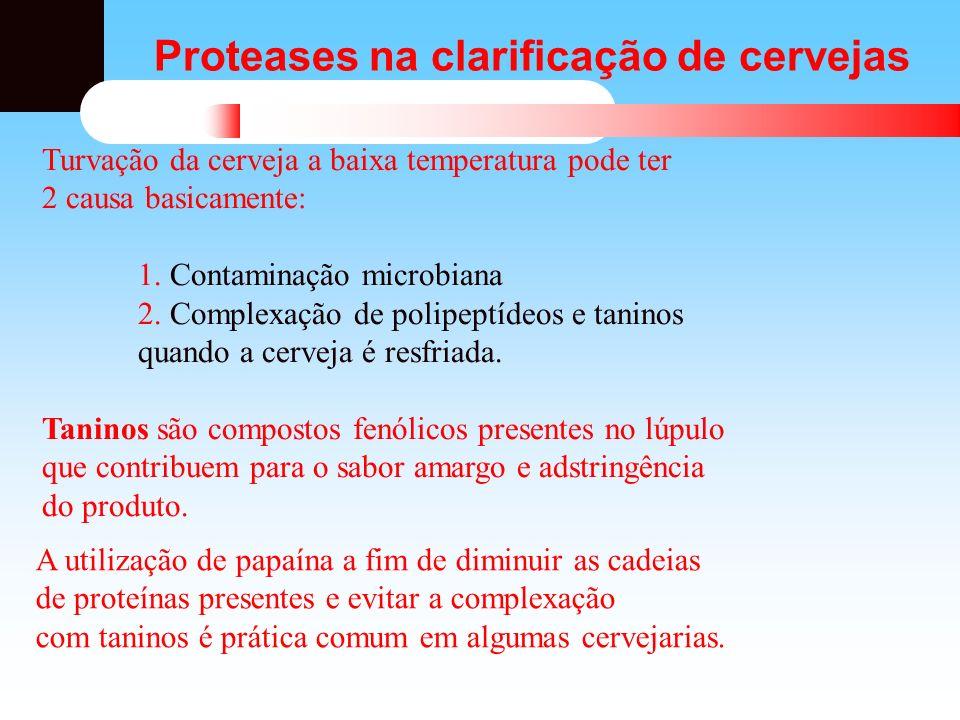 Proteases na clarificação de cervejas Turvação da cerveja a baixa temperatura pode ter 2 causa basicamente: 1. Contaminação microbiana 2. Complexação