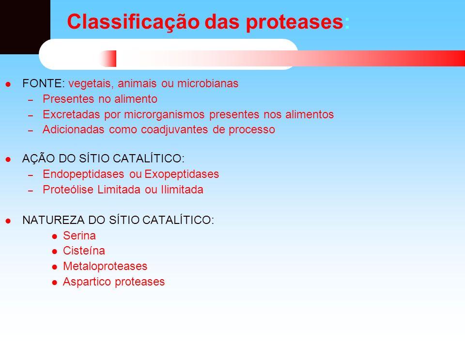 Classificação das proteases: FONTE: vegetais, animais ou microbianas – Presentes no alimento – Excretadas por microrganismos presentes nos alimentos –