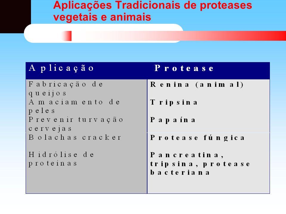 Outras aplicações das Proteases Detergentes Couros: substituição produtos do processo que são poluentes Produtos farmacêuticos: pomadas cicatrizantes, auxiliares digestivos Alimentos: amaciamento de carnes Reação de plasteína Solubilização de proteínas