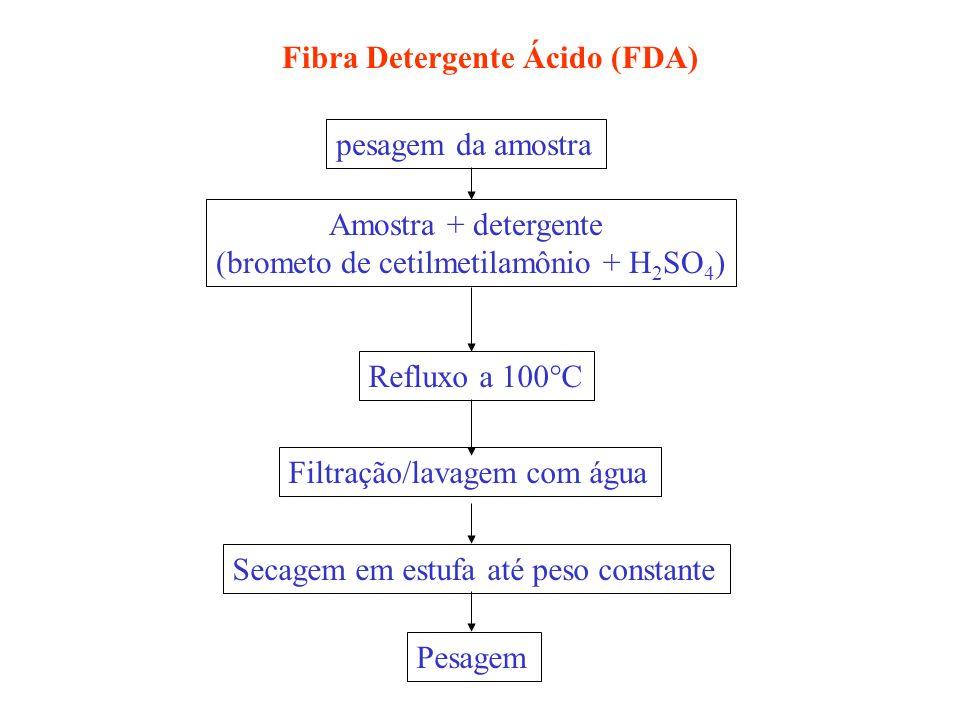 pesagem da amostra Amostra + detergente (brometo de cetilmetilamônio + H 2 SO 4 ) Refluxo a 100 C Filtração/lavagem com água Secagem em estufa até pes
