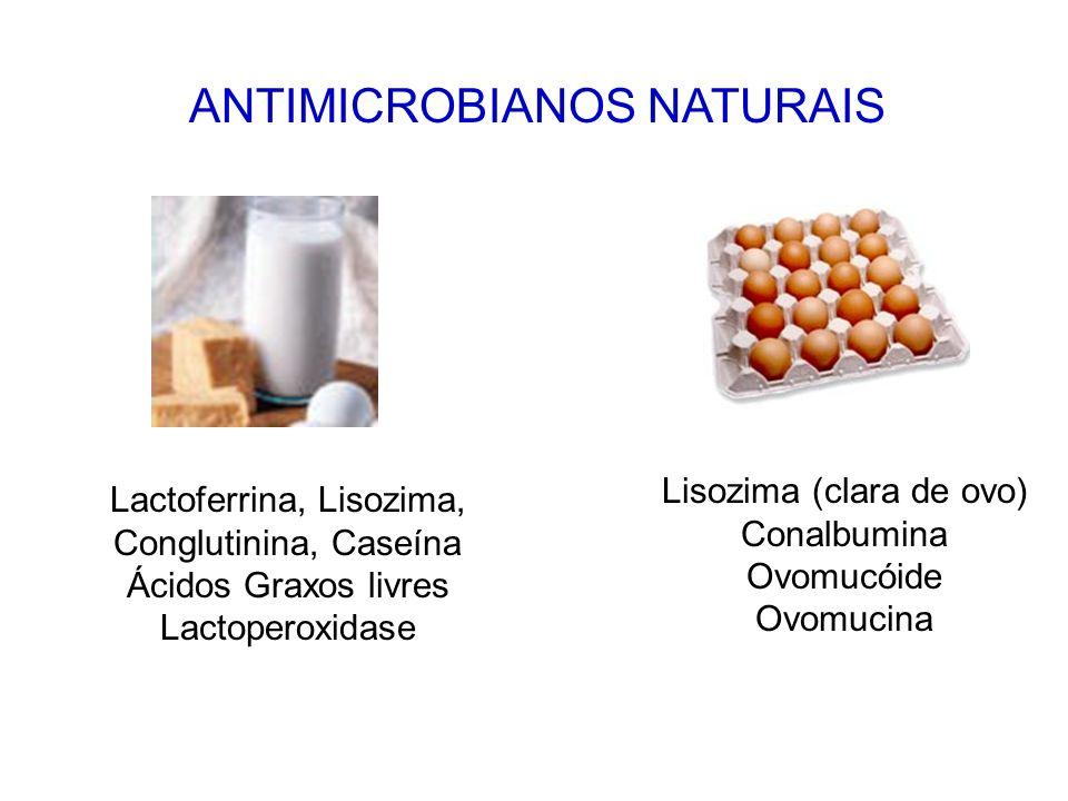 ANTIMICROBIANOS NATURAIS Alicina e Garlicina Aldeído cinâmico e Eugenol Eugenol Timol e Isotimol Alicina
