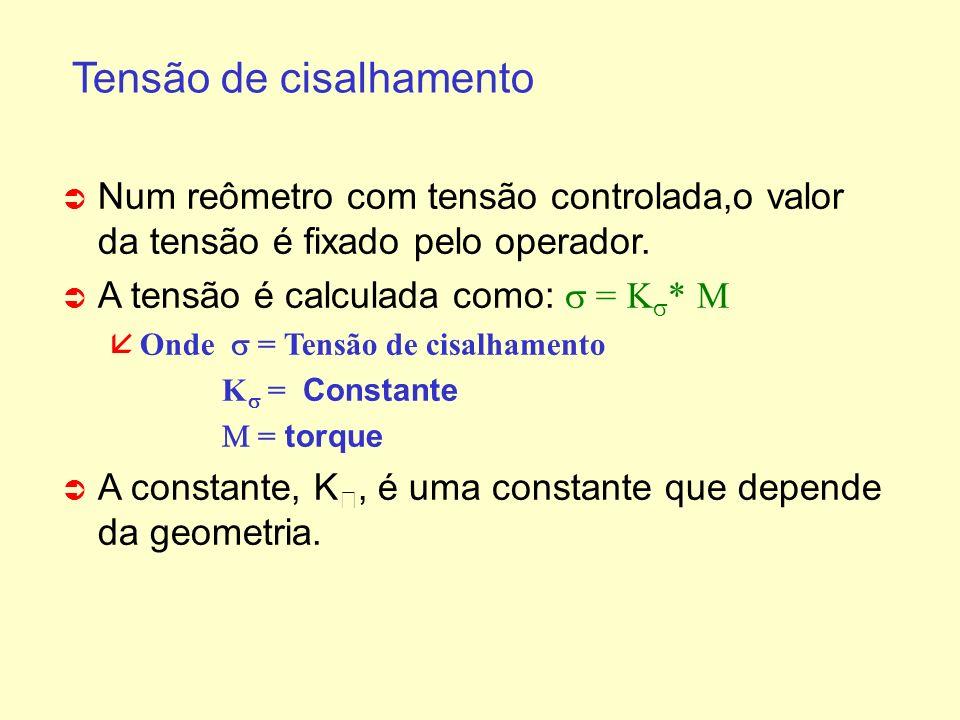 Tensão de cisalhamento Ü Ü Num reômetro com tensão controlada,o valor da tensão é fixado pelo operador. A tensão é calculada como: = K * Onde = Tensão