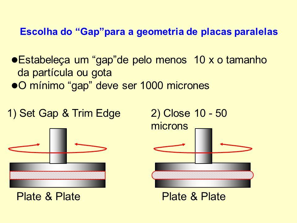 l l Estabeleça um gapde pelo menos 10 x o tamanho da partícula ou gota l l O mínimo gap deve ser 1000 micrones Escolha do Gappara a geometria de placas paralelas Plate & Plate 1) Set Gap & Trim Edge Plate & Plate 2) Close 10 - 50 microns