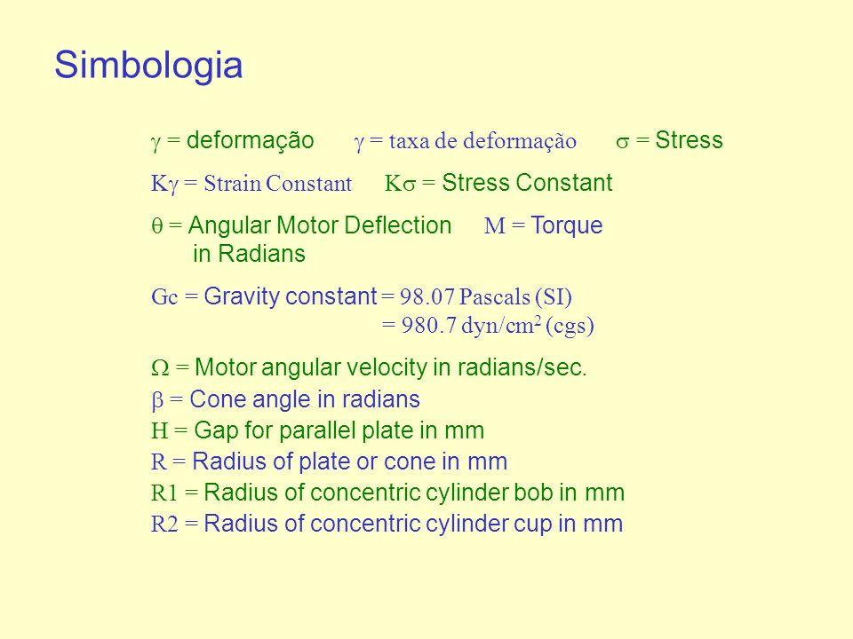= deformação = taxa de deformação = Stress K = Strain Constant K = Stress Constant = Angular Motor Deflection M = Torque in Radians Gc = Gravity constant = 98.07 Pascals (SI) = 980.7 dyn/cm 2 (cgs) = Motor angular velocity in radians/sec.