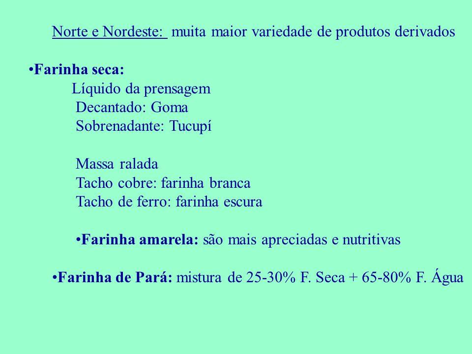 Norte e Nordeste: muita maior variedade de produtos derivados Farinha seca: Líquido da prensagem Decantado: Goma Sobrenadante: Tucupí Massa ralada Tac