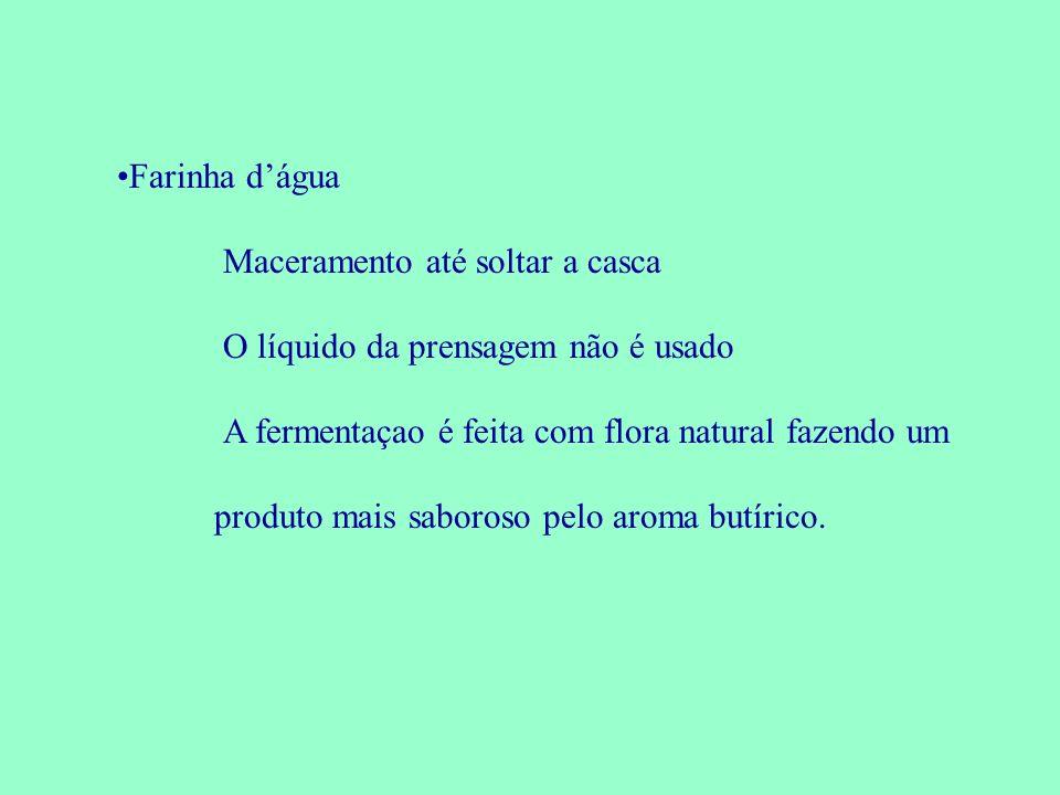 Farinha dágua Maceramento até soltar a casca O líquido da prensagem não é usado A fermentaçao é feita com flora natural fazendo um produto mais saboro
