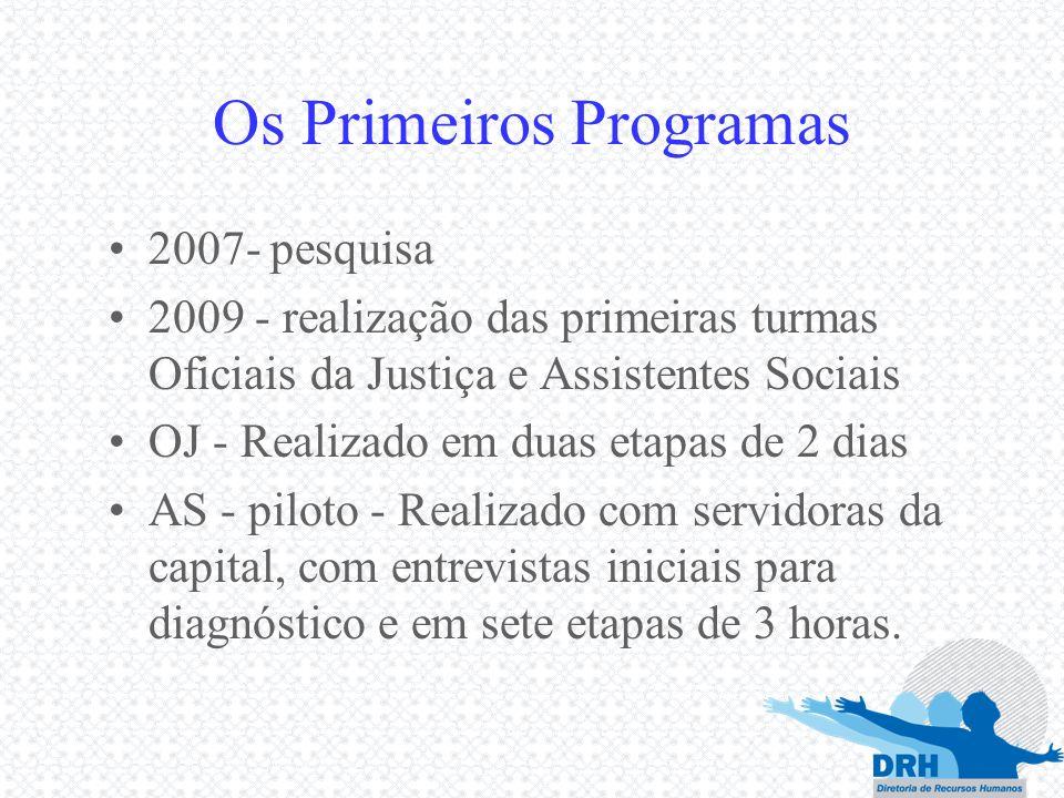 Os Primeiros Programas 2007- pesquisa 2009 - realização das primeiras turmas Oficiais da Justiça e Assistentes Sociais OJ - Realizado em duas etapas d