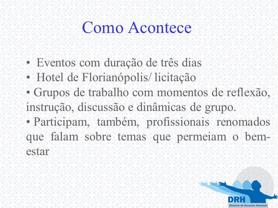 Como Acontece Eventos com duração de três dias Hotel de Florianópolis/ licitação Grupos de trabalho com momentos de reflexão, instrução, discussão e d