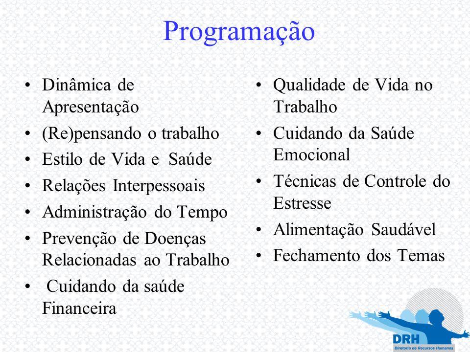 Programação Dinâmica de Apresentação (Re)pensando o trabalho Estilo de Vida e Saúde Relações Interpessoais Administração do Tempo Prevenção de Doenças
