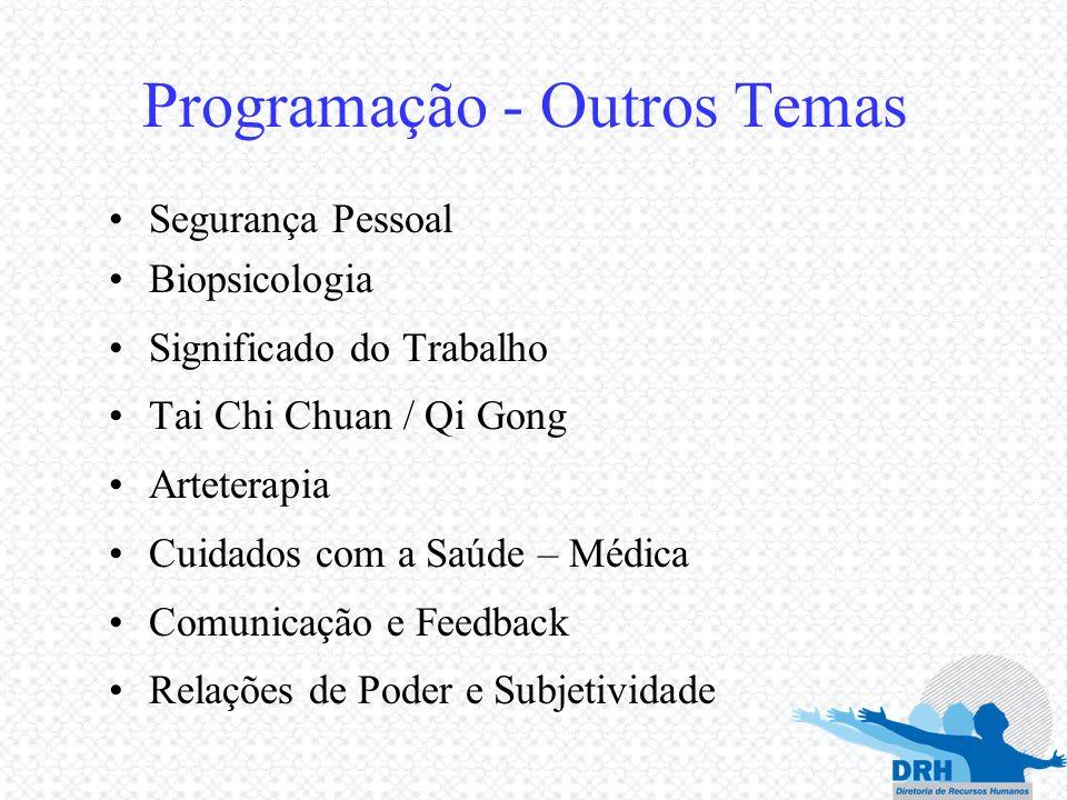Programação - Outros Temas Segurança Pessoal Biopsicologia Significado do Trabalho Tai Chi Chuan / Qi Gong Arteterapia Cuidados com a Saúde – Médica C