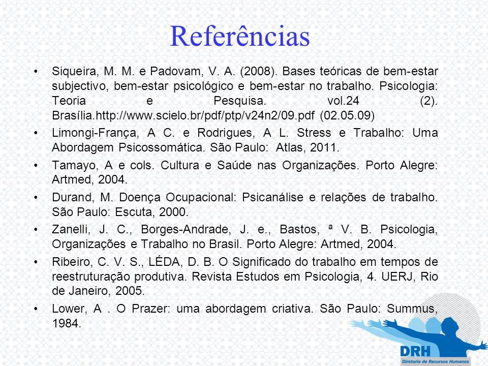Referências Siqueira, M. M. e Padovam, V. A. (2008). Bases teóricas de bem-estar subjectivo, bem-estar psicológico e bem-estar no trabalho. Psicologia