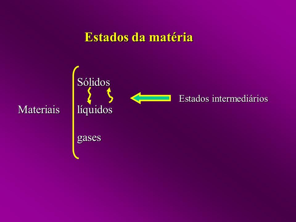 Sólidos Materiais líquidos gases Estados intermediários Estados da matéria