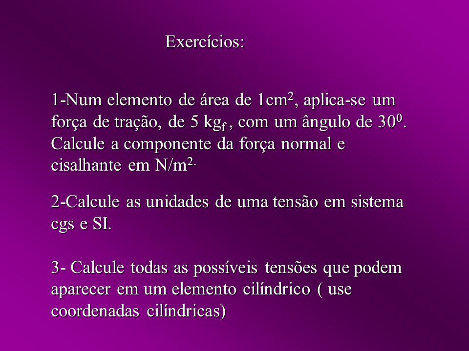 Exercícios: 1-Num elemento de área de 1cm 2, aplica-se um força de tração, de 5 kg f, com um ângulo de 30 0.