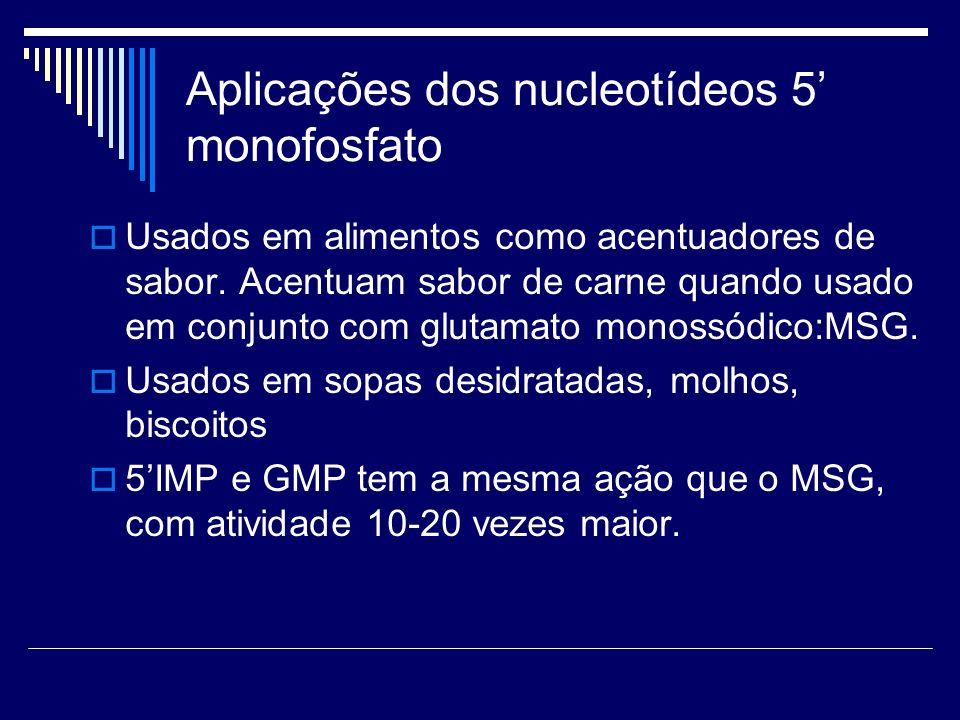 Aplicações dos nucleotídeos 5 monofosfato Usados em alimentos como acentuadores de sabor. Acentuam sabor de carne quando usado em conjunto com glutama