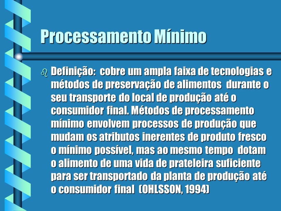 Conceito para indústria de alimentos b Variedade de tecnologias e suas combinações para produzir frutas e verduras minimamente processadas.