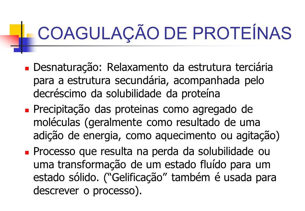 COAGULAÇÃO DE PROTEÍNAS Desnaturação: Relaxamento da estrutura terciária para a estrutura secundária, acompanhada pelo decréscimo da solubilidade da p