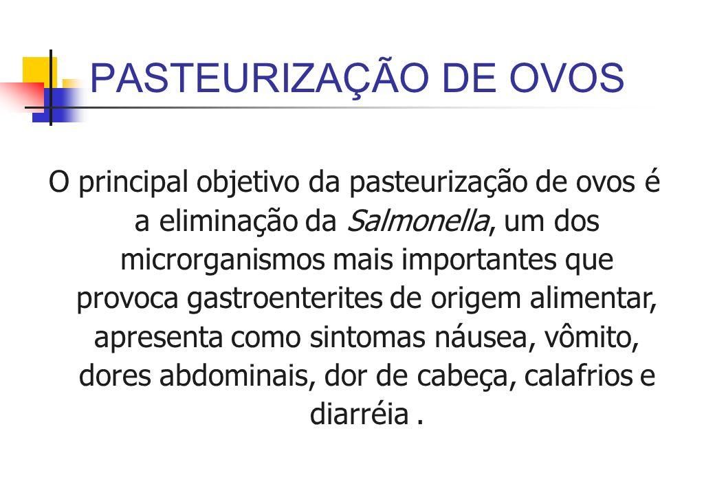 PASTEURIZAÇÃO DE OVOS O principal objetivo da pasteurização de ovos é a eliminação da Salmonella, um dos microrganismos mais importantes que provoca g