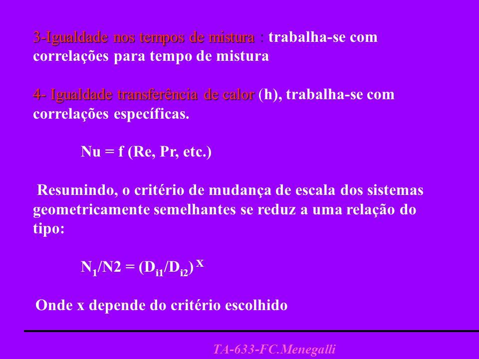 TA-633-FC.Menegalli 3-Igualdade nos tempos de mistura 3-Igualdade nos tempos de mistura : trabalha-se com correlações para tempo de mistura 4- Igualdade transferência de calor 4- Igualdade transferência de calor (h), trabalha-se com correlações específicas.