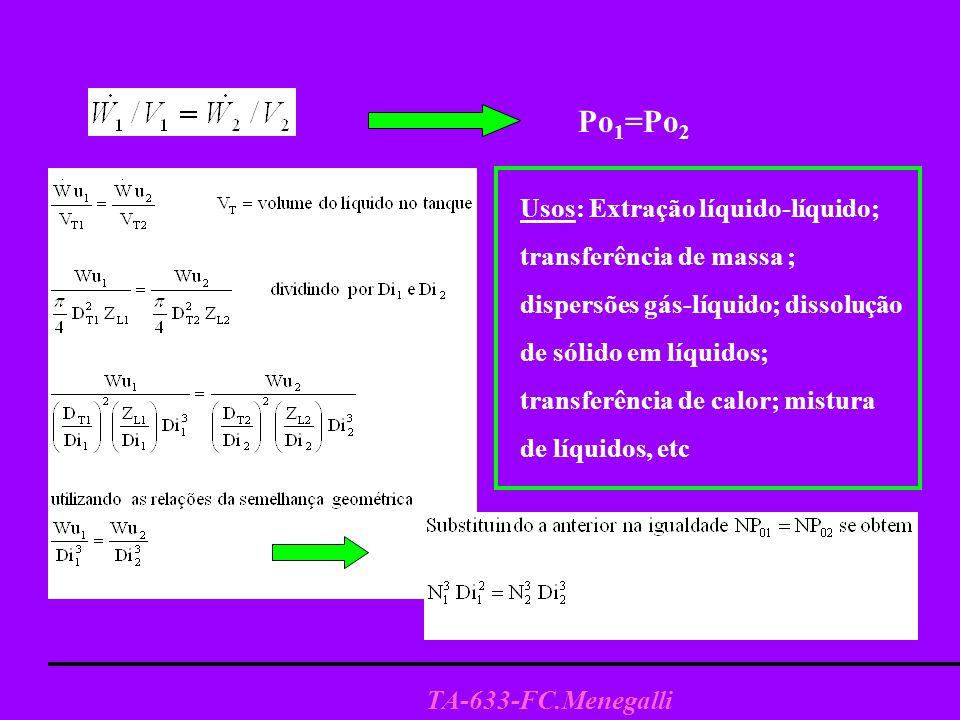 TA-633-FC.Menegalli 2-Critério de Velocidade Periférica (Vp) Critério utilizado quando interessa ter a mesma tensão de cisalhamento no sistema modelo e no industrial, por exemplo em dispersão- emulsão, este é um critério que assegura uma dispersão equivalente em ambos sistemas Di 1 N 1 = Di 2 N 2 = Vp Di 1 N 1 =Di 2 N 2 ; e portanto Po 1 = Po 2