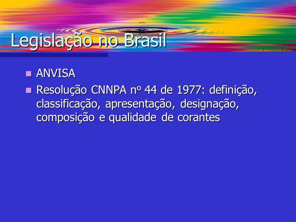 ANVISA ANVISA Resolução CNNPA n o 44 de 1977: definição, classificação, apresentação, designação, composição e qualidade de corantes Resolução CNNPA n