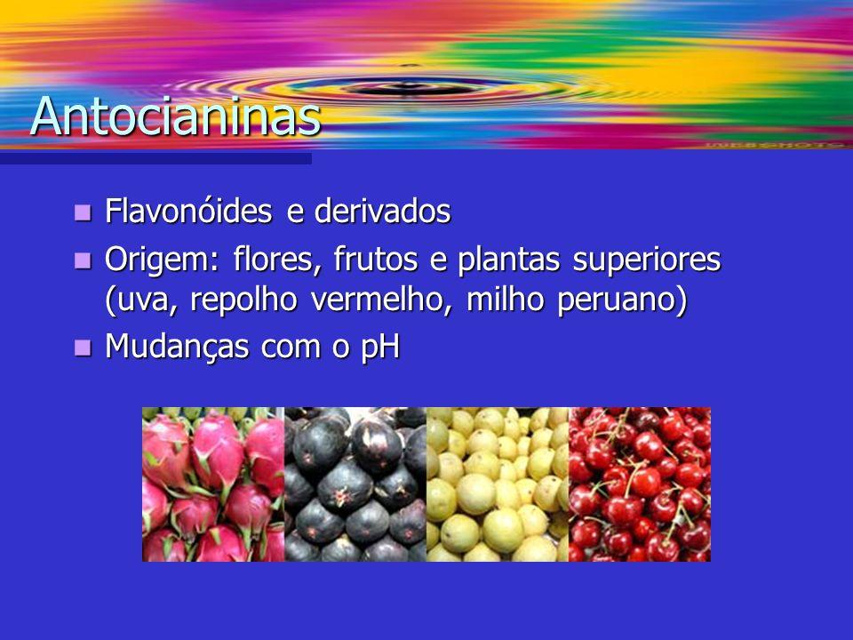 Flavonóides e derivados Flavonóides e derivados Origem: flores, frutos e plantas superiores (uva, repolho vermelho, milho peruano) Origem: flores, fru