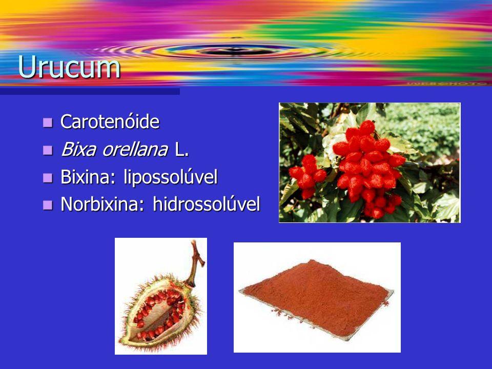 Carotenóide Carotenóide Bixa orellana L. Bixa orellana L. Bixina: lipossolúvel Bixina: lipossolúvel Norbixina: hidrossolúvel Norbixina: hidrossolúvel