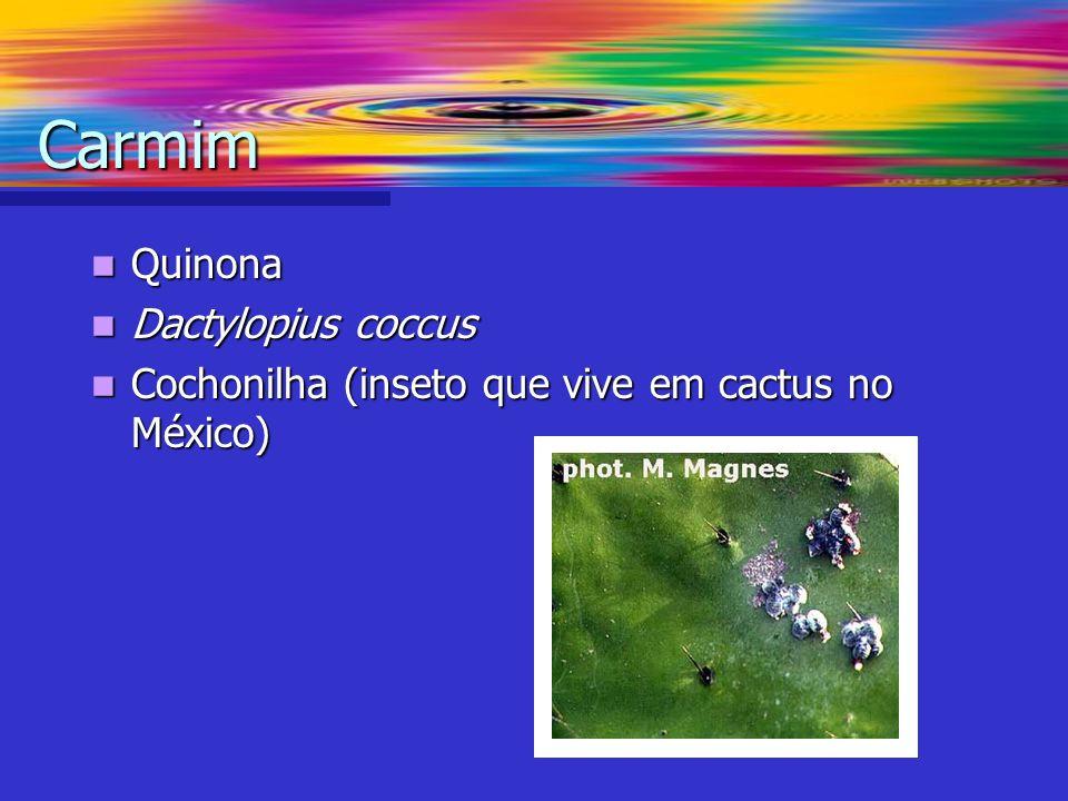 Quinona Quinona Dactylopius coccus Dactylopius coccus Cochonilha (inseto que vive em cactus no México) Cochonilha (inseto que vive em cactus no México