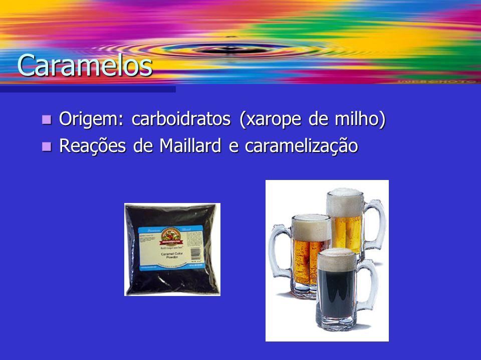 Origem: carboidratos (xarope de milho) Origem: carboidratos (xarope de milho) Reações de Maillard e caramelização Reações de Maillard e caramelização