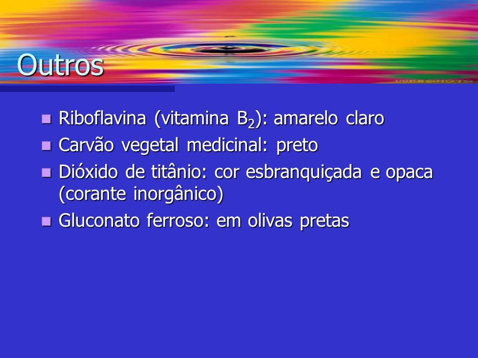 Riboflavina (vitamina B 2 ): amarelo claro Riboflavina (vitamina B 2 ): amarelo claro Carvão vegetal medicinal: preto Carvão vegetal medicinal: preto