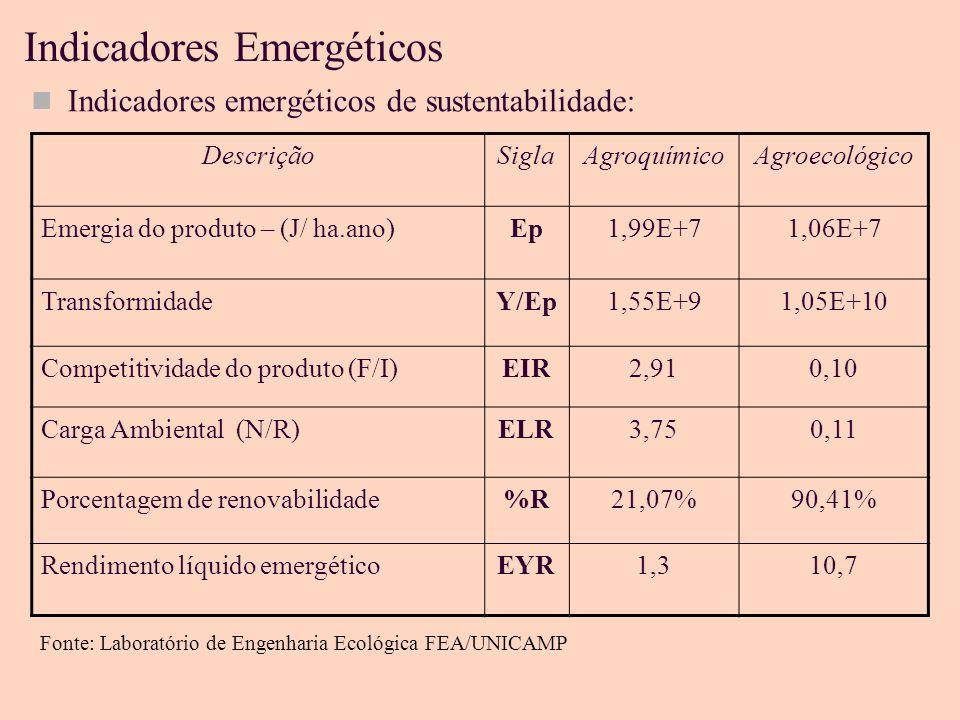 Indicadores Emergéticos Indicadores emergéticos de sustentabilidade: DescriçãoSiglaAgroquímicoAgroecológico Emergia do produto – (J/ ha.ano)Ep1,99E+71,06E+7 TransformidadeY/Ep1,55E+91,05E+10 Competitividade do produto (F/I)EIR2,910,10 Carga Ambiental (N/R)ELR3,750,11 Porcentagem de renovabilidade%R21,07%90,41% Rendimento líquido emergéticoEYR1,310,7 Fonte: Laboratório de Engenharia Ecológica FEA/UNICAMP