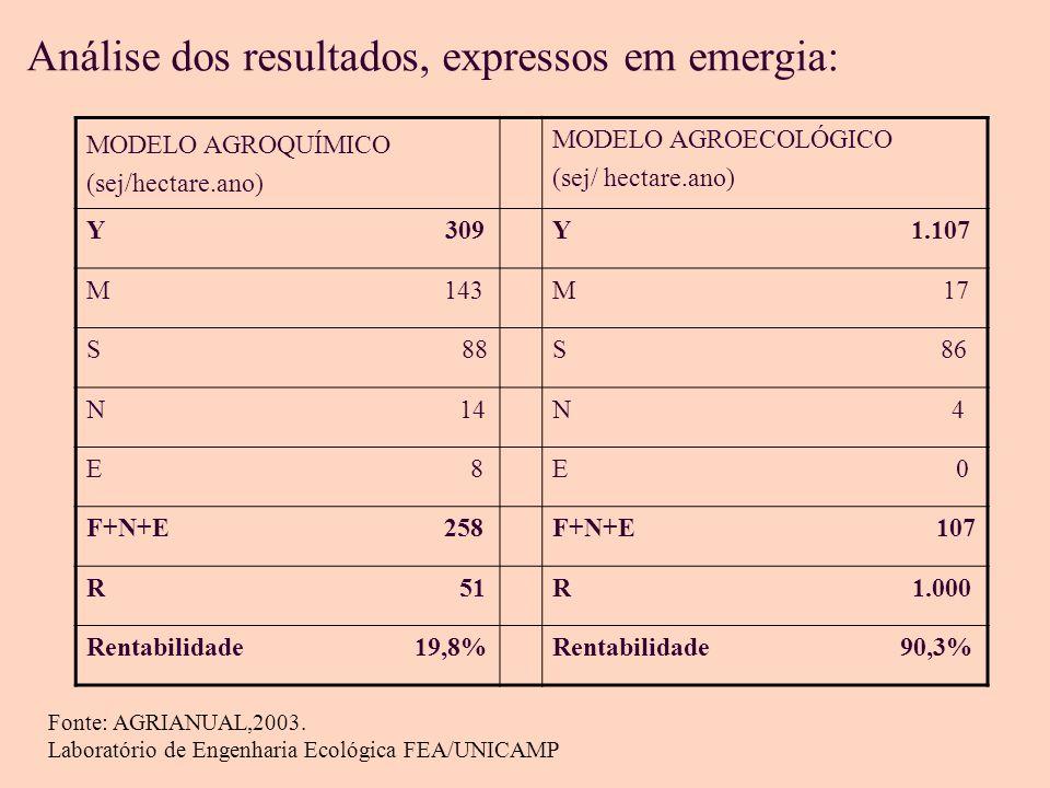 Análise dos resultados, expressos em emergia: MODELO AGROQUÍMICO (sej/hectare.ano) MODELO AGROECOLÓGICO (sej/ hectare.ano) Y 309Y 1.107 M 143M 17 S 88S 86 N 14N 4 E 8E 0 F+N+E 258F+N+E 107 R 51R 1.000 Rentabilidade 19,8%Rentabilidade 90,3% Fonte: AGRIANUAL,2003.