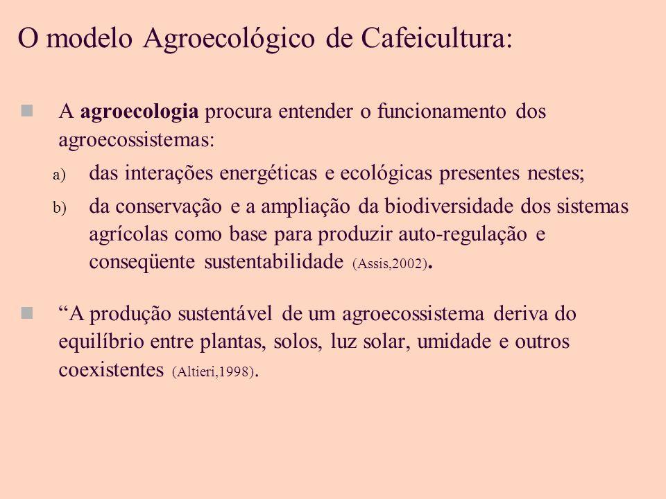 O modelo Agroecológico de Cafeicultura: A agroecologia procura entender o funcionamento dos agroecossistemas: a) das interações energéticas e ecológicas presentes nestes; b) da conservação e a ampliação da biodiversidade dos sistemas agrícolas como base para produzir auto-regulação e conseqüente sustentabilidade (Assis,2002).